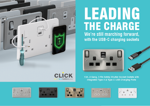 Scolmore Type C USB sockets in all ranges